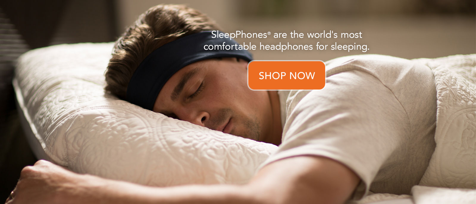 Shop now AcousticSheep SleepPhones are the world's most comfortable headphones for sleeping. Man sleeping on side with black sleep headband headphones.