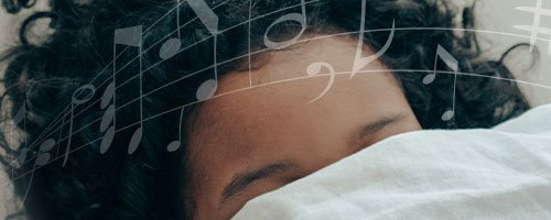 woman listening to sleep sounds acousticsheep music notes over head