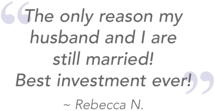 quote from SleepPhones headphones for snoring customer Rebecca: the only reason my husband and I are still married! Best investment ever!