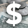 US dollar sign on top of US dollars and coins
