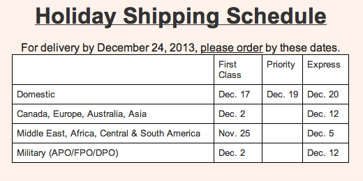 Holiday Shipping Schedule 2013
