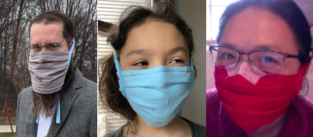Coronavirus DIY face mask for man with beard, a kid, and person with glasses.
