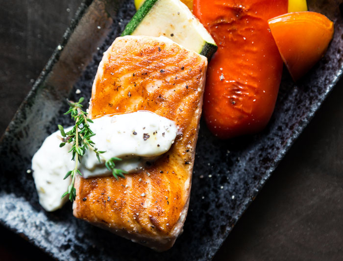 Healthy Salmon Dinner on a Plate