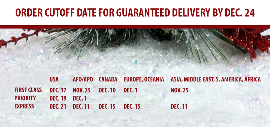 Holiday Shipping Schedule for 2014 delivery by December 24