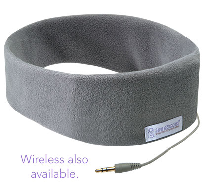 comfortable gray fleece sleep headphones wired
