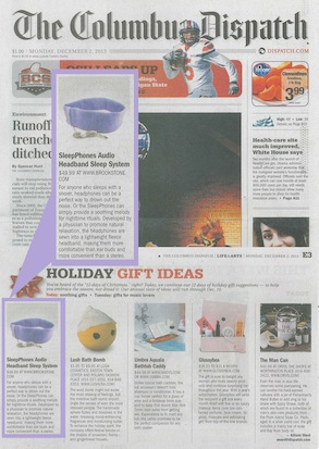 SleepPhones Featured in TheColumbus Dispatch Gift Guide - December 2013