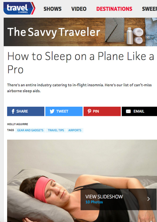 screenshot of the Travel Channel homepage featuring the SleepPhones model