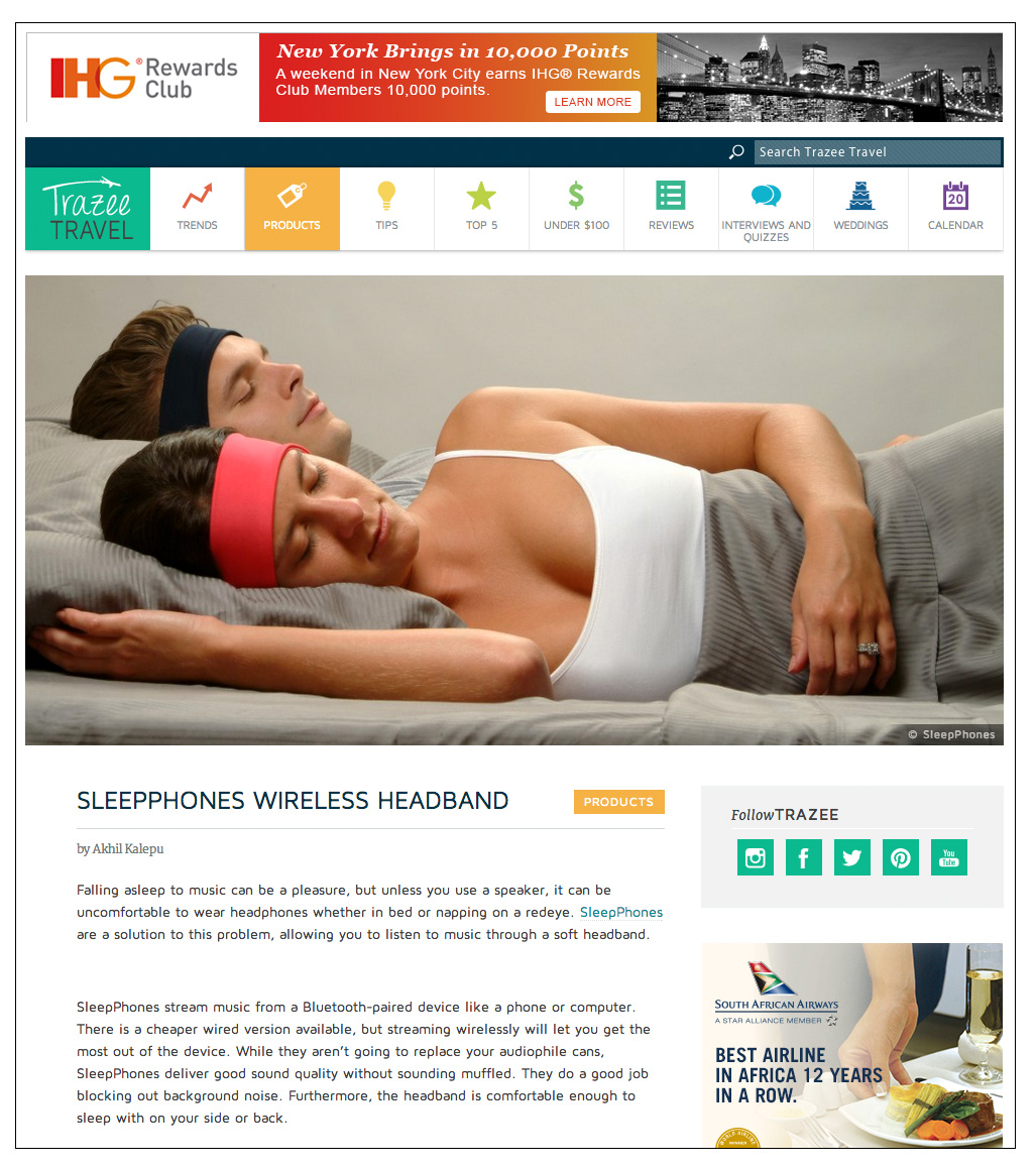 SleepPhones® Wireless Headphones Featured on Trazee Travel Products for Entertainment