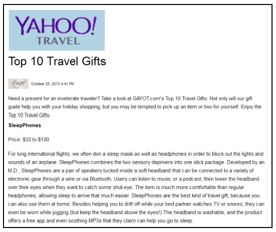 SleepPhones Featured on the Yahoo Travel Blog - October 2013
